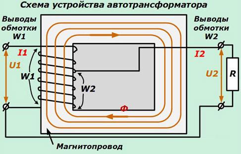 схема работы автотрансформатора