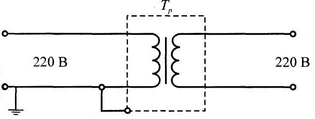 Схема разделительного трансформатора