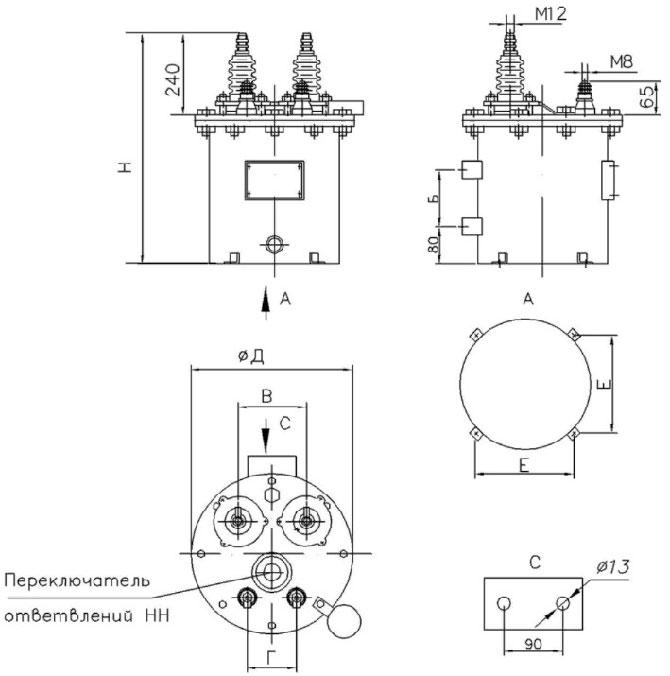 Размеры трансформатора ОМП-1,25-4
