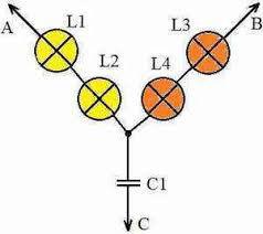 Схема фазоуказателя из 4 ламп накаливания